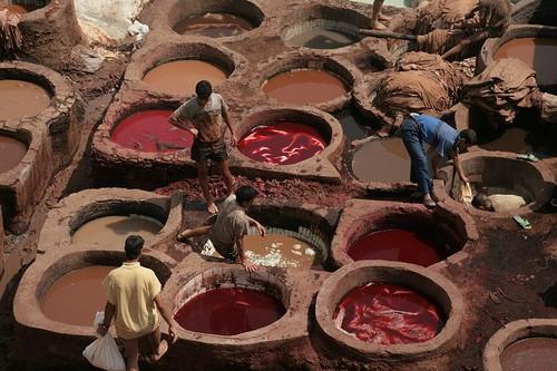Las tenerías de Fez, colores y aromas