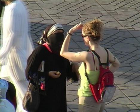 Turistas occidentales en Marruecos