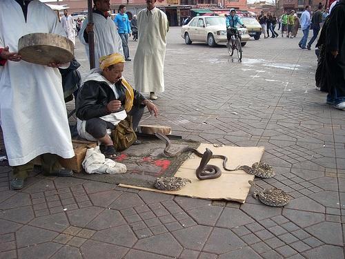 Encantador de serpientes en Jemma El-Fna